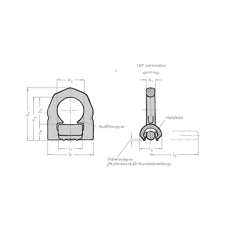 Lastbock / Lastbügel zum Anschweißen